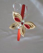 Cerchietto kanzashi rosso con farfalla