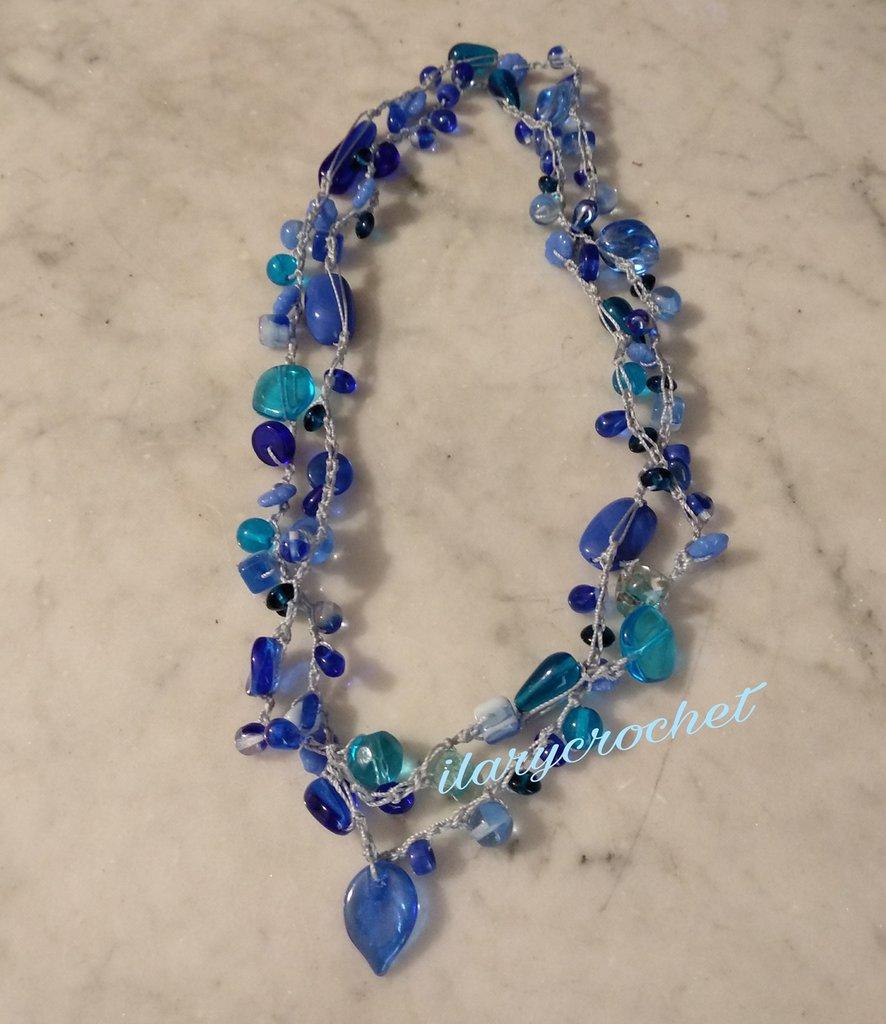 Collana Stile Boho Colore Blu Uncinetto E Perline In Vetro Di Bohem