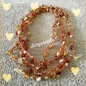 Collana stile boho colore ambra uncinetto e perline di vetro