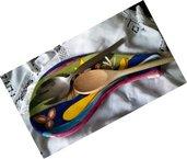 Vassoio porta mestoli di ceramica modellato e dipinto a mano, decorazione come il poggia mestoli