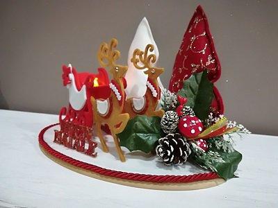 slitta natalizia su base in legno