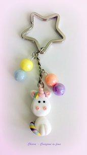 Portachiavi in fimo Unicorno kawaii, argilla polimerica, fatto a mano con Unicorno Arcobaleno kawaii, idea regalo natale per ragazza