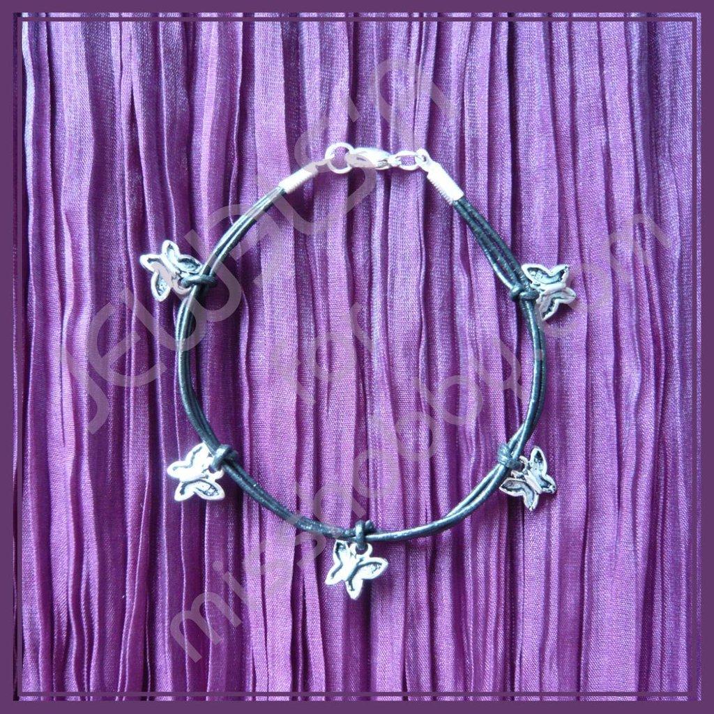 Bracciale cuoio e farfalle Jewels'A