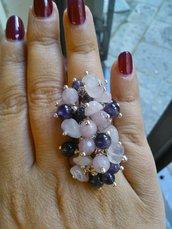 Anello regolabile in ametista, quarzo rosa e giada rosa
