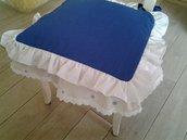 Cuscino sedia blu con doppio voilà fatto a mano.