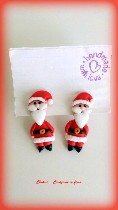 Orecchini Babbo Natale da lobo in fimo, argilla polimerica, handmade idee regalo Natale, orecchini natalizi