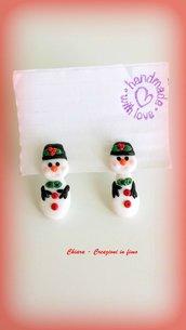 Orecchini Pupazzo di neve in fimo da lobo, argilla polimerica, handmade idee regalo Natale, orecchini natalizi
