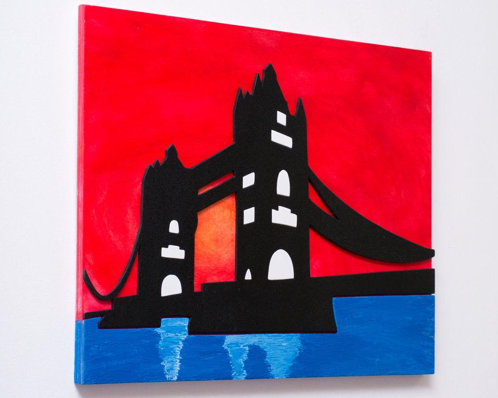 """Quadro in legno """"Tower Bridge"""", realizzato a mano, utilizzando tecnica mista."""