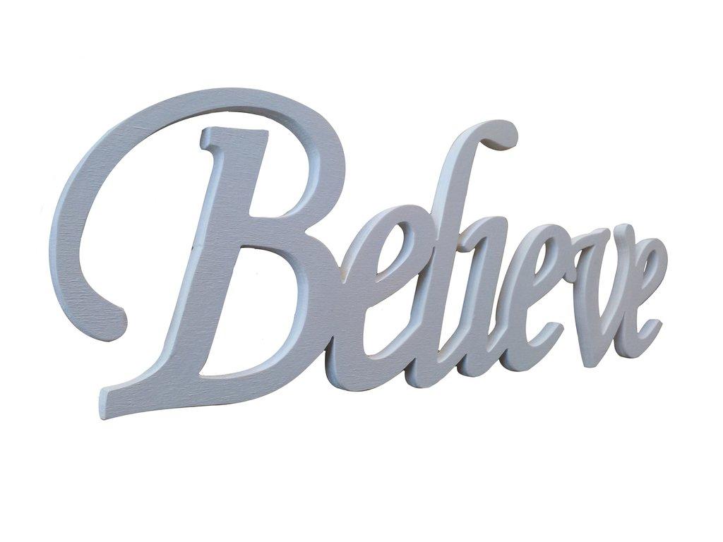 Scritta in legno believe (bianco)