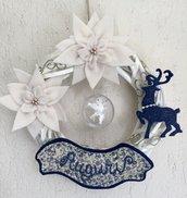 NATALE - ghirlanda con stelle di Natale renna e scritta AUGURI
