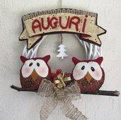 Natale - Ghirlanda gufi con albero di Natale e targa auguri