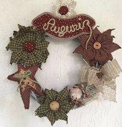 """Natale - Ghirlanda """"Primitive"""" con fiori e gnomo"""