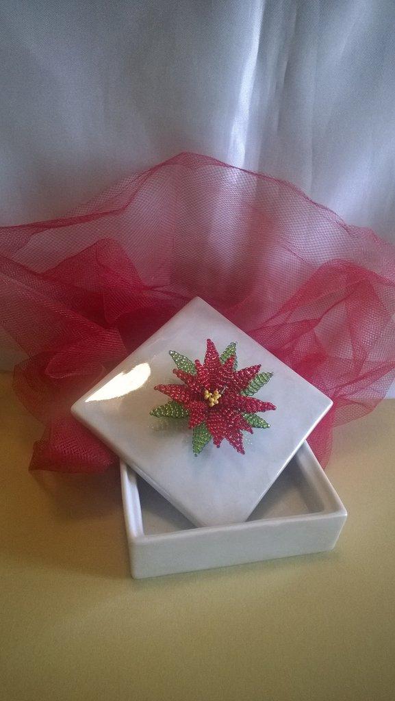 Stella Di Natale Con Perline.Portagioie In Ceramica Con Stella Di Natale
