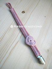 Portaciuccio cuore rosa, cotone, uncinetto, neonata/bambina, idea regalo, fatto a mano