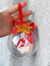 Pallina con bimbo e cicogna nascita - primo Natale