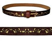 cintura in vero cuoio decorata a mano