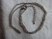 1 Collana in metallo color argento 58cm.+allungo e moschettone da 15mm.