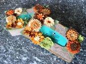 Scatola di feltro porta box rettangolare per fazzoletti di carta, con fiori di feltro