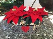 NATALE - Stelle di Natale in vasetto di vetro e porta vaso in ferro battuto antracite