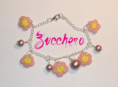 Bracciale Fimo/Cernit Fiori Rosa