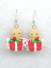 Orecchini omino pan di zenzero in pacco regalo natale 2017 fimo regalo natalizi kawaii