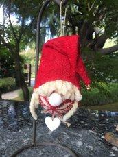 NATALE - pallina di Natale gnomo in lana
