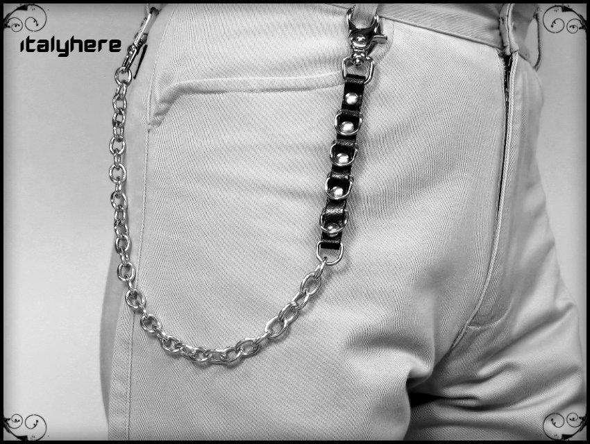 Catena per pantaloni e jeans, in maglia forzatina con cuoio nero e anelli D, lunga cm 50, idea regalo - Italyhere