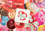 "LOTTO 35 stickers adesivi in carta ""Mix Love"" (5x5x2cm circa)"