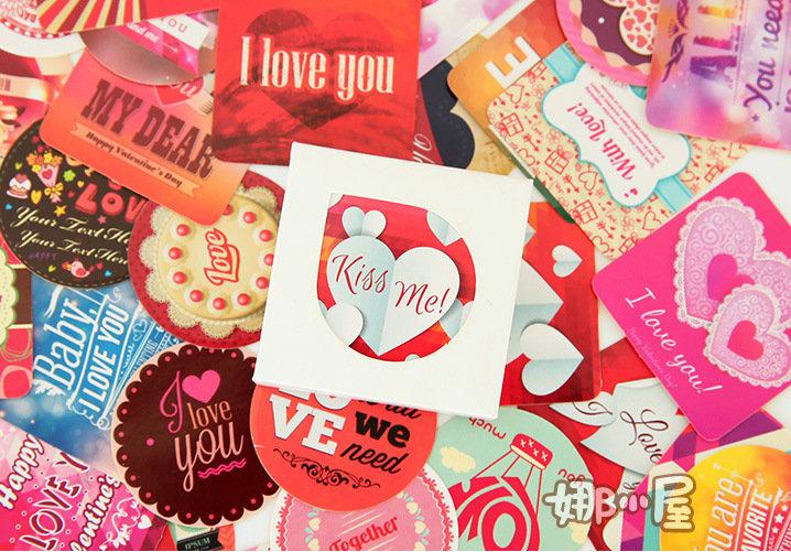 """LOTTO 35 stickers adesivi in carta """"Mix Love"""" (5x5x2cm circa)"""