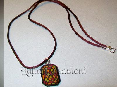 collana medaglia multicolor