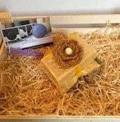 Sapone naturale di Provenza con cuscinetto Imbottito giallo, saponi bio, saponette provenzali