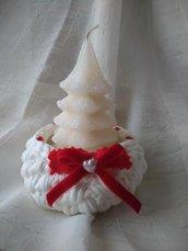 Grazioso regalo di natale - cestino di fettuccia bianca con decorazione di velluto rosso e candela a forma di alberello