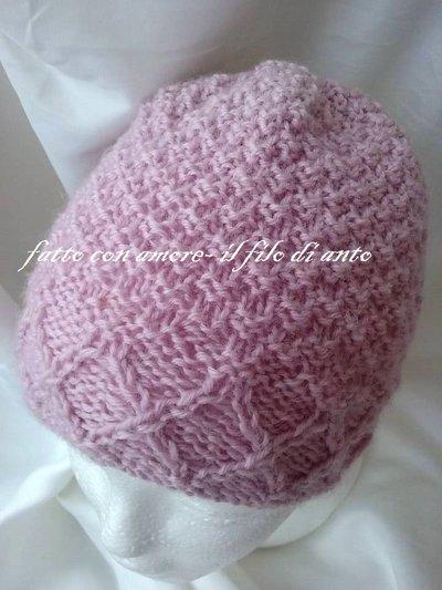 Cappello  in pura lana 100% rosa con intrecci