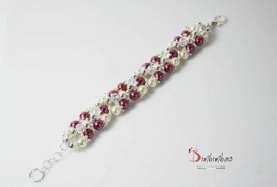 bracciale donna gioiello artigianale con perle di fiume mezzi swarovsky