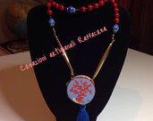 Collana perle rosse e lapislazzuli tamburello corallo