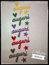 """10 Decorazioni scritta  """"auguri"""" in feltro"""