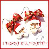"""Orecchini Natale """" Babbo Natale rosso fiocco neve oro  """" dolcetti fimo cernit premo kawaii idea regalo bambina donna clip  ragazza"""