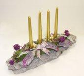 Centro tavola con 4 candele dorate