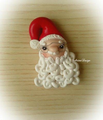 Babbo Natale calamita con gli occhiali decorazione albero regalo chiudipacco