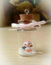 Ciondolo pinguino di Natale in bottiglietta con neve in fimo addobbi Natale regalo