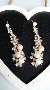 Orecchini cascata brillantini con perle