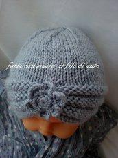 Cappello bambina a turbante con fiore in pura lana 100%