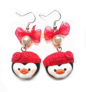 Orecchini Pinguini cuffia rossa idea regalo fimo ragazza donna Natale