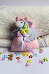 bomboniera unicorno in fimo con sacchettino