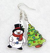 Orecchini pupazzo di neve e albero di Natale in shrink