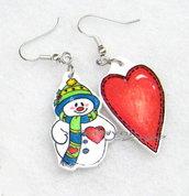 Orecchini Natale pupazzo di neve e cuore  in shrink