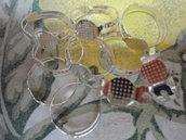 10 basi per anelli regolabili color argento  diametro disco non forato 8 mm. anello 18x17 mm.