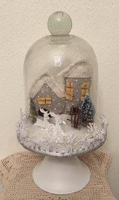 NATALE - Alzatina con paesaggio natalizio innevato e luce interna