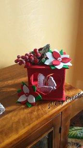 Lanterna sacra famiglia, feltro, natale, idea regalo, decorazioni, addobbi, rosso