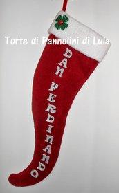 Calza Natale Epifania- Cornetto Portafortuna personalizzato con nome/dedica - idea regalo originale